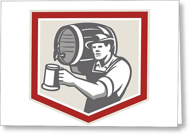 Barman Lifting Barrel Pouring Beer Mug Retro Greeting Card
