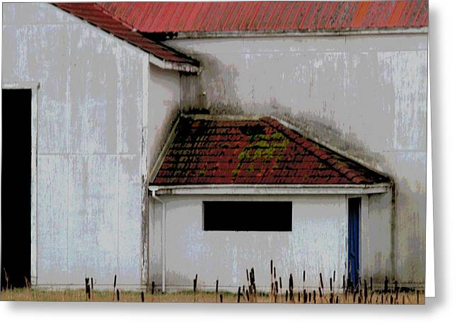 Barn - Geometry - Red Roof Greeting Card by Marie Jamieson