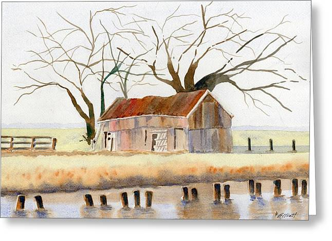 Barn Along The Bank Greeting Card