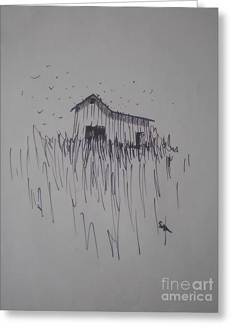 Barn And Birds Greeting Card by Suzanne McKay