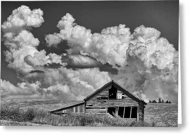 Barn And Clouds Greeting Card by Latah Trail Foundation