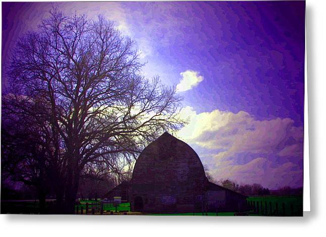 Barn And Oak Digital Painting Greeting Card by Joyce Dickens