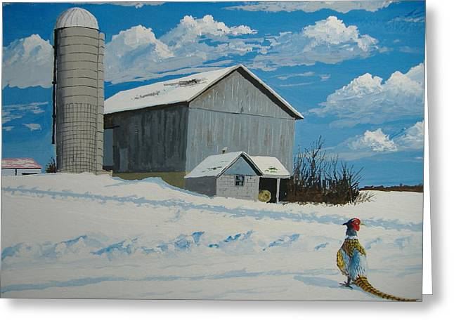 Greeting Card featuring the painting Barn And Pheasant by Norm Starks