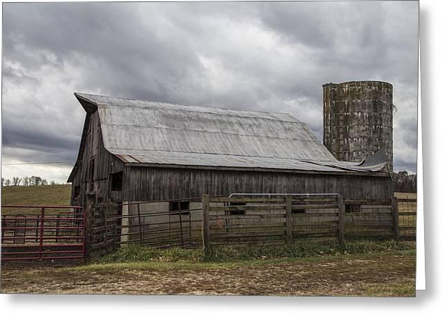 Barn And Silo In Kentucky  Greeting Card