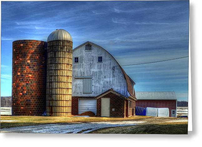 Barn And Silos Greeting Card