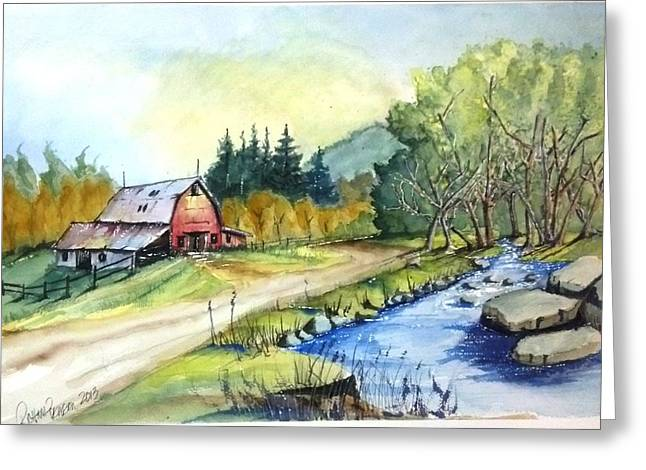 Barn And Stream Greeting Card by Richard Benson