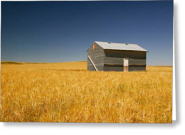 Barn At Choteau Montana Painted Greeting Card by Rich Franco