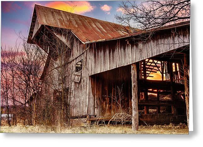 Barn At Sunset Greeting Card by Brett Engle