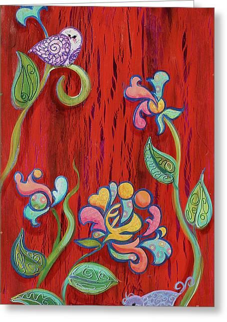 Barn Birdys Mixed Media Art Painting Greeting Card