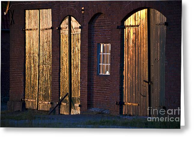 Barn Door Lighting Greeting Card by Heiko Koehrer-Wagner
