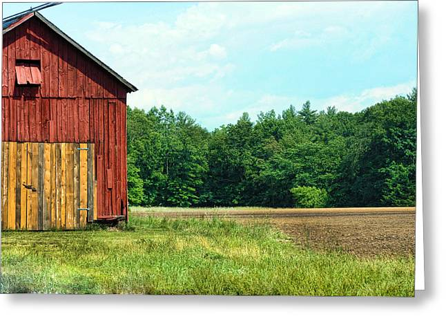 Barn Green Greeting Card by Kenneth Feliciano