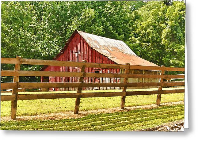 Barn In A Fence Greeting Card
