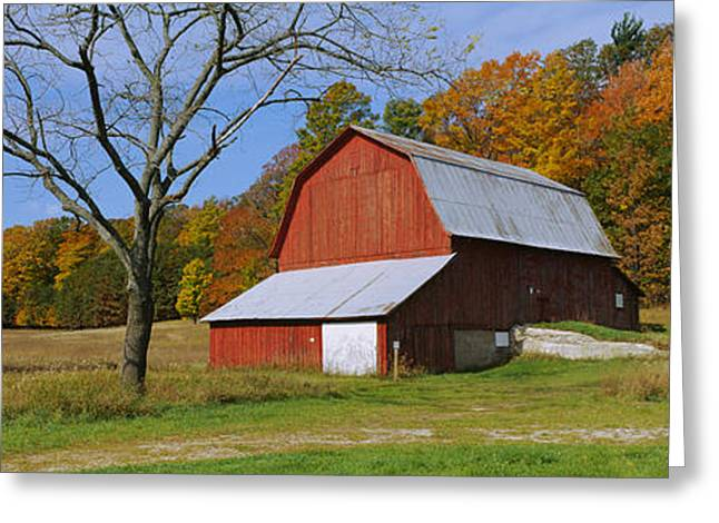 Barn In A Field, Sleeping Bear Dunes Greeting Card by Panoramic Images