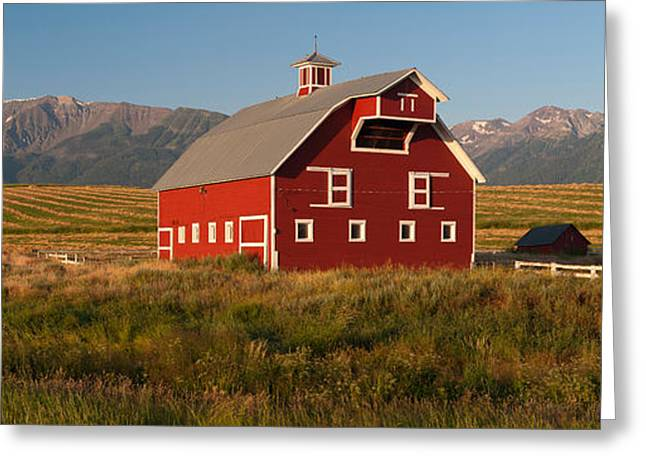 Barn In A Field With A Wallowa Greeting Card