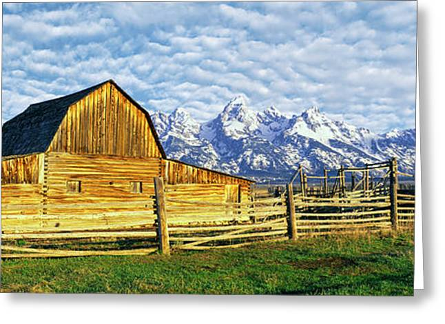 Barn In A Field With Mountain Range Greeting Card by Panoramic Images