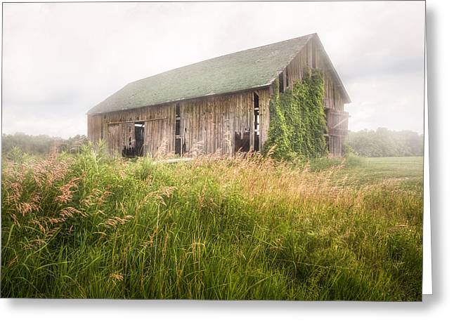 Greeting Card featuring the photograph Barn In A Misty Field by Gary Heller