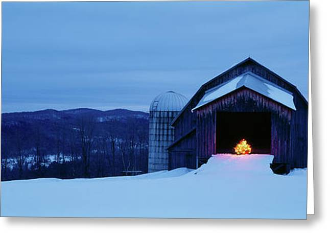 Barn In A Snow Covered Field, Vermont Greeting Card