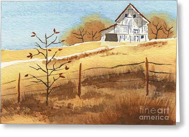 Barn In Autumn Greeting Card by Beverly Claire Kaiya