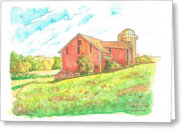 Barn In Cornfield, Wisconsin Greeting Card