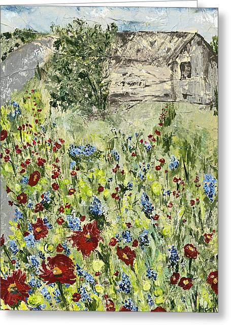 Barn In Field Greeting Card by Kirsten Reed