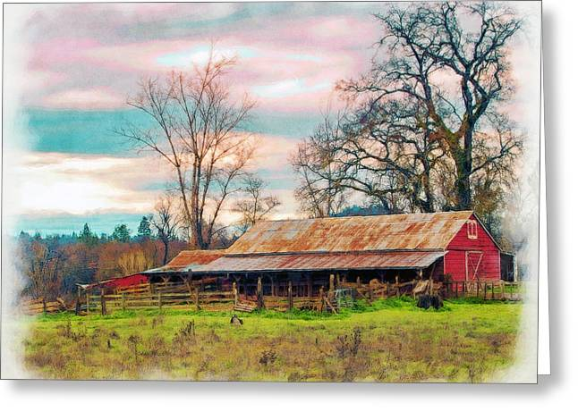 Barn In Penn Valley Painted Greeting Card