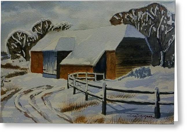 Barn In Snow Greeting Card by Can Dogancan