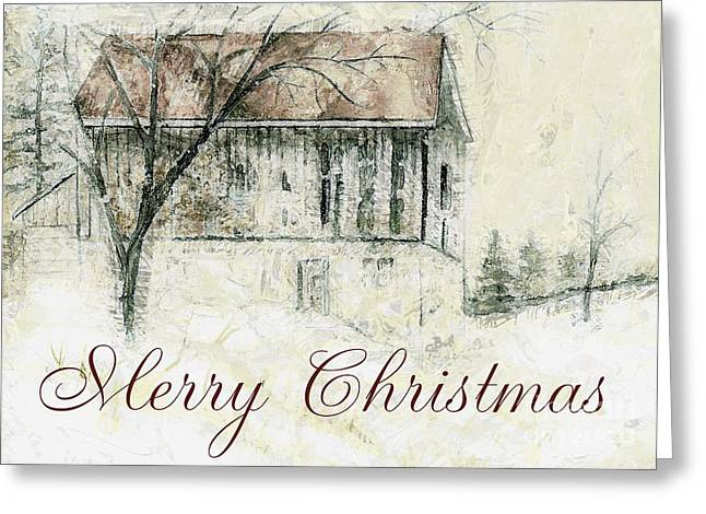 Barn In Snow Christmas Card Greeting Card