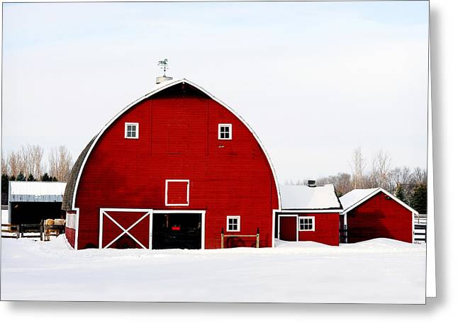 Barn In Snow Greeting Card