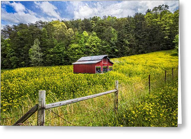 Barn In The Meadow Greeting Card by Debra and Dave Vanderlaan