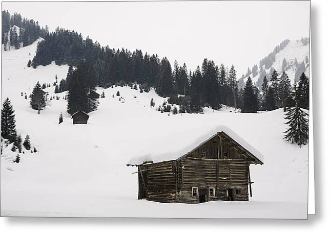 Barn In The Winterly Alps - Beautiful Mountain Landscape With Lots Of Snow Greeting Card