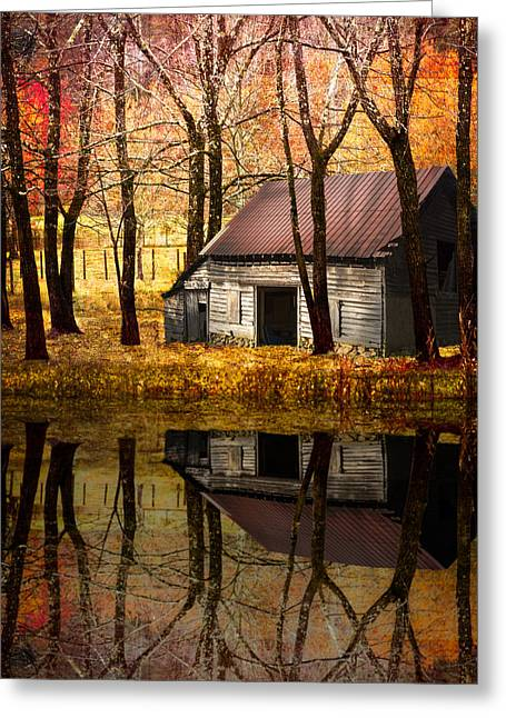 Barn In The Woods Greeting Card by Debra and Dave Vanderlaan