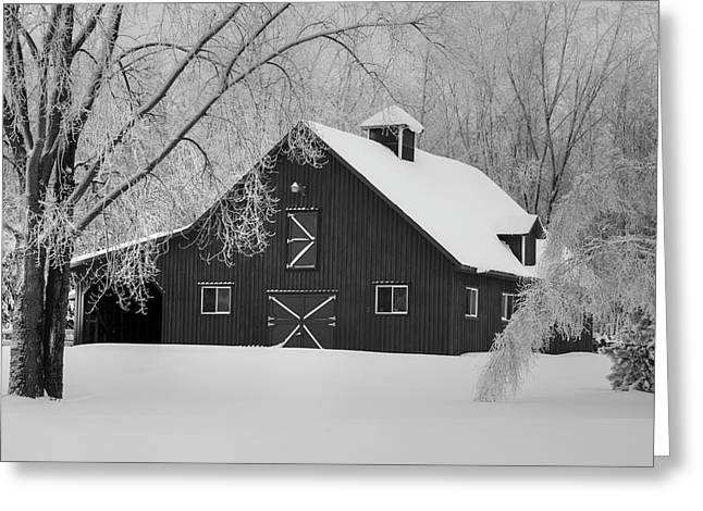 Barn In Winter  Iron Hill, Quebec Greeting Card