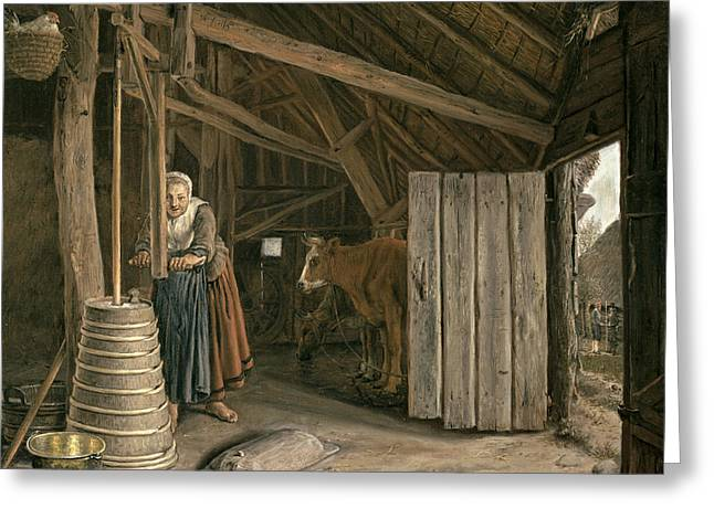 Barn Interior With A Maid Churning Butter Oil On Canvas Greeting Card by Govert Dircksz. Camphuysen