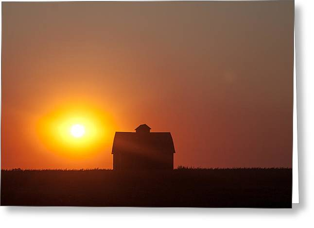 Greeting Card featuring the digital art Barn Meets Sunset by Dawn Romine