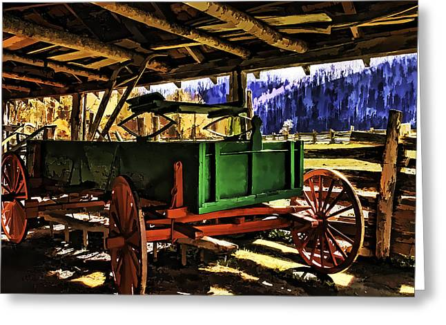 Greeting Card featuring the painting Barn by Muhie Kanawati