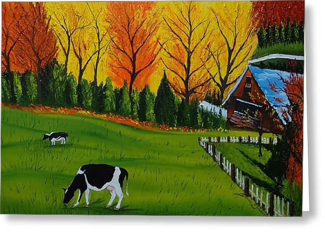 Barn Of Autumn 2 Greeting Card by Portland Art Creations