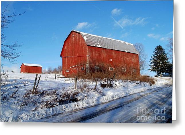 Barn On A Hill Greeting Card