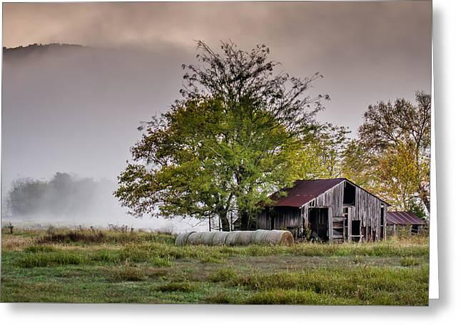 Barn On Foggy Morning Greeting Card