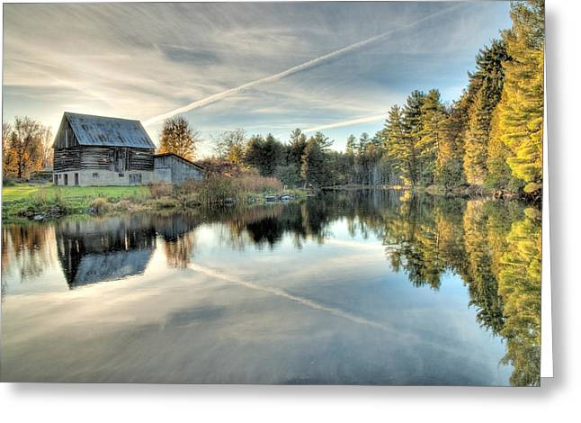 Greeting Card featuring the photograph Barn On Mill Pond Along Waba Creek by Rob Huntley