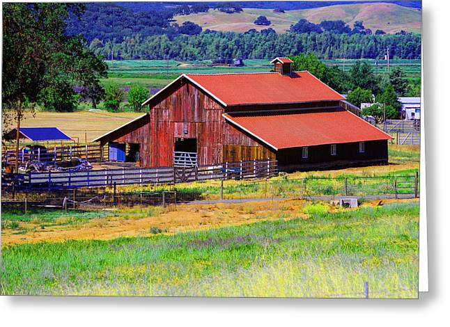Barn On Route To Fort Bragg Greeting Card