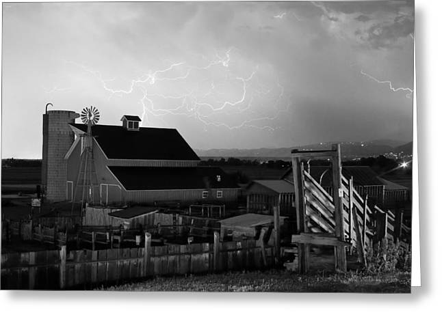 Barn On The Farm And Lightning Thunderstorm Bw Greeting Card