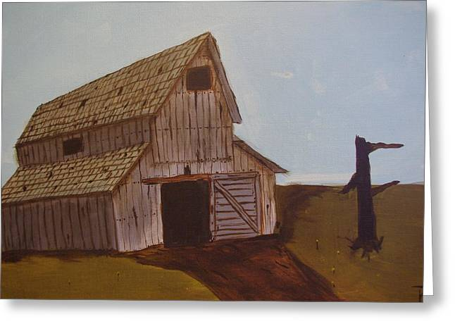 Barn On The Hill Greeting Card by Keith Nichols