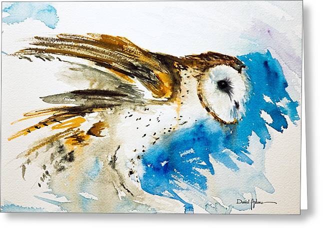 Da145 Barn Owl Ruffled Daniel Adams Greeting Card