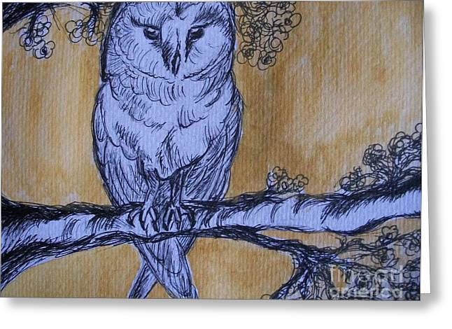Greeting Card featuring the painting Barn Owl by Teresa White