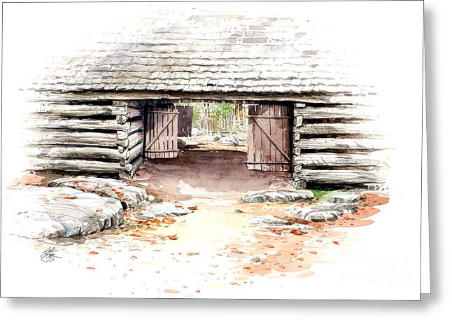 Greeting Card featuring the painting Barn Stalls by Bob  George