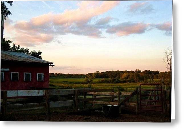 Barn Sunset Greeting Card