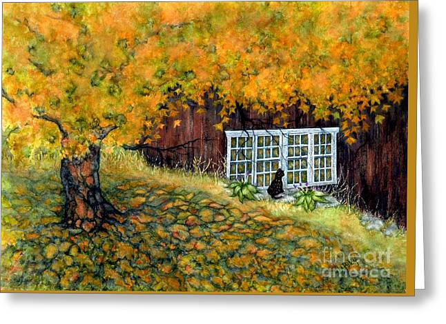 Barn Window Reflections Greeting Card by Janine Riley