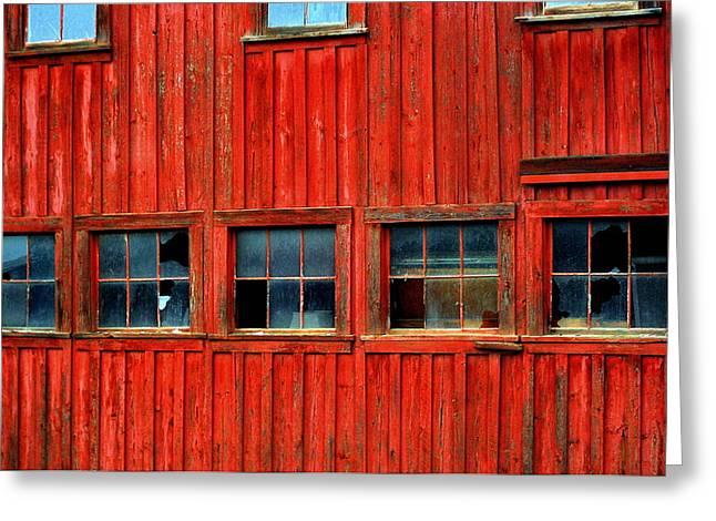 Barn Windows Greeting Card by Mamie Gunning