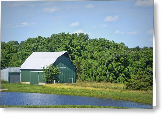 Barn With A Cross Greeting Card by Cricket Hackmann