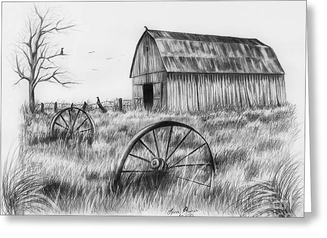 Barn With Crows Greeting Card by Lena Auxier
